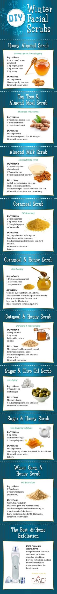 DIY Winter Facial Scrubs,Skin need a pick me up this winter? Try one of the DIY Winter Facial Scrubs on the info-graphic. Beauty Care, Beauty Skin, Hair Beauty, Beauty Myth, Beauty Secrets, Beauty Hacks, Beauty Tutorials, Just In Case, Just For You