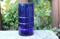 Tartan cobalt 16 Oz Flat Ice tea Tumbler by Anchor Hocking crystal, retro cobalt blue water glass/ tumbler replacement glassware, blue glass