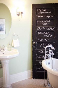 I was going to paint all my doors black anyway. Maybe i should just use chalkboard paint on all of them ;) Reinvent an old door into a new design element for your home by using chalkboard paint! Bathroom Doors, Master Bathroom, Bathrooms, Small Bathroom, Bathroom Black, Bathroom Stall, Paint Bathroom, Attic Bathroom, Downstairs Bathroom