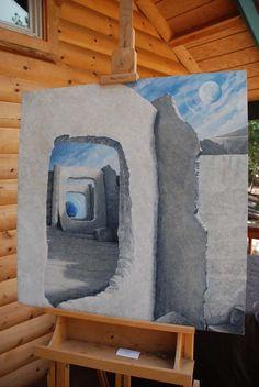 """Ancient Earth Watchers"" 36x36"" original acrylic by artist Darcy Gerdes,"