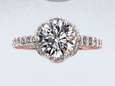 14kt Rose Gold 6.5mm Round White Sapphire  FSI1 Diamond Halo Engagement Ring Anniversary Ring Inspired by Crowned Love Collection on Etsy, $1,590.00
