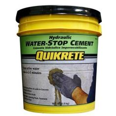 Acquire the Quikrete 20 lb. Hydraulic Water-Stop Cement product blocks running water and seals leaks in cracked masonry and concrete surfaces at The Home Depot Leaking Basement, Wet Basement, Basement Flooring, Basement Ideas, Garage Ideas, Sealing Basement Walls, Basement Inspiration, Modern Basement, Diy Flooring