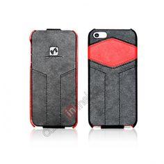 HOCO HOC Mixed Series Flip Genuine Leather Case For iPhone 5 - Black Red US$26.85