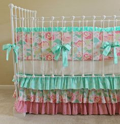 Mint Mosaic Rose Crib Bedding Set by LottieDaBaby on Etsy, $385.00