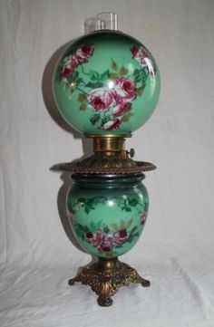Gone with the Wind Banquet Oil Lamp~ Breathtaking BEAUTY WITH ROSES~ Outstanding Fancy Ornate  Font Spill Ring and Base~ Original Condition ~Original Parts