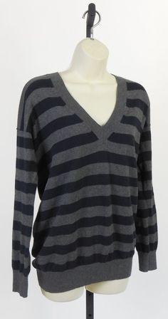 NEW GAP Cashmere Blend Favorite VNeck Striped Work Wear School Tunic Sweater Buy it Now $14.99 Free Ship S #GAP #VNeckCashmere
