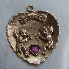 Vintage-French-Art-Deco-14ct-Gold-Ruby-Love-Heart-Pendant-Charm-Anniversary