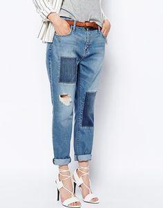Current Elliot Boyfriend Jeans With Patch Detail