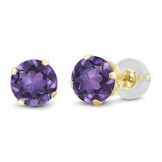 14K Yellow Gold Natural Purple Amethyst Gemstone Birthstone Womens Stud Womens Earrings 150 Cttw Round 6MM *** Learn more by visiting the image link. (This is an affiliate link and I receive a commission for the sales)