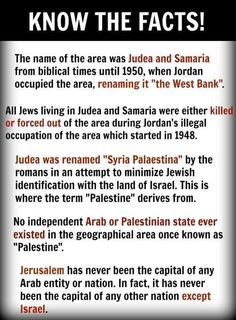 """And now you know where the term """"West Bank"""" comes from. And you also know the truth about Jerusalem. And that the land of Israel was renamed by man, not God. Israel belongs to God, and God gave it to His People, the Jews, the Children of Israel. Israel History, Jewish History, Heiliges Land, Bible Knowledge, Thing 1, Bible Truth, Holy Land, Torah, History Facts"""