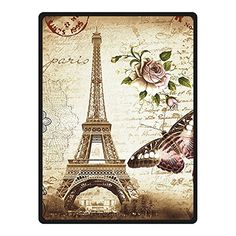Picturesque Paris, Eiffel Tower Butterfly, Earth Tones Fleece (Queen) Throw Blanket
