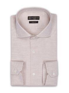 Grey slim-fit diagonal Superlight cotton #shirt, small open collar. #Corneliani #FW16 #accessories