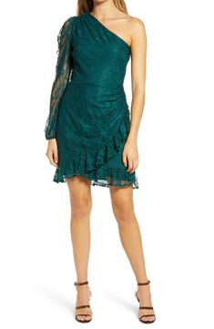 x BFF Jess One-Shoulder Lace Minidress