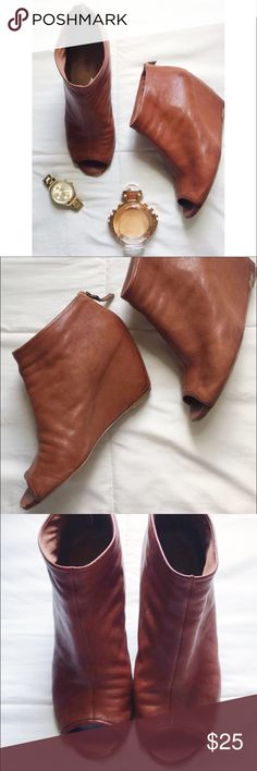 Open Toe Leather Booties Wedges Booties made of real leather! Have a few scuffs as shown in the pictures but have a lot of life left! Lots of compliments on these! Nine West Shoes Ankle Boots & Booties