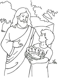 Jesus Feeds 5,000 Coloring Page Could be used with http://missionbibleclass.org/1b0-new-testament/new-testament-part-1/life-of-christ-middle/feeding-of-the-five-thousand/