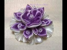 Kanzashi #120 - Como fazer Flor de Tecido Cetim - LINDA ! DIY. PAP - Flower / 簪 - YouTube