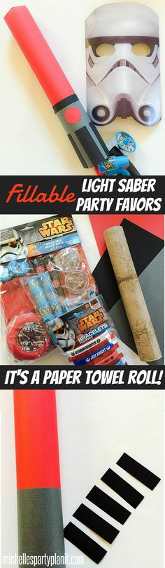 Easy Star Wars Light Saber Party Favor Tubes - Made with Paper Towel Rolls, paper and glue!  Fill them with party favors!