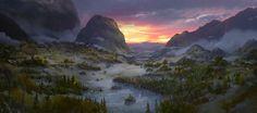 Valley at dawn, Mu Yu jiang on ArtStation at https://www.artstation.com/artwork/AQgnq