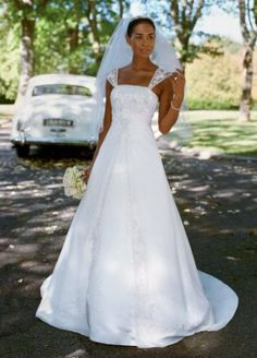 David's Bridal Wedding Dress: Satin A-line with Chiffon Split Front Overlay Style V9010 	$399