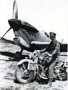 Capt Sam Houston (in plane) and motorcycle buddy. Africa 1942-43. 52nd FG, 4th FS.