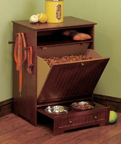 New Walnut Beadboard Pet Food Storage Cabinet & Bin w/ 2 Removable Bowls - $57 - we are definitely getting this when we get a dog