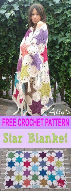 Crochet afghans 172192385741074817 - Free Pattern Star Banket Source by attyslove Crochet Afghans, Crochet Quilt, Crochet Blocks, Crochet Squares, Knit Or Crochet, Cute Crochet, Crochet Crafts, Crochet Stitches, Crochet Projects
