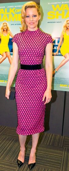 Elizabeth Banks wears a high-neck dress by Monique Lhuillier with Kurt Geiger pumps to a New Orleans screening of 'Walk of Shame'
