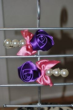 "4"" Girls Purple & Hot Pink Rose Pearl bows, set of hair clips on Etsy, $4.00"