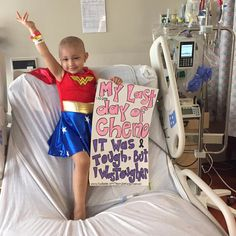 To mark the occasion, Sophia dressed up as one of her heroes, Wonder Woman. | This Badass Girl Dressed As Wonder Woman On Her Last Day Of Chemo