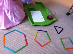 Montessori shape activities and other fun learning activities. Fun Math, Learning Activities, Preschool Activities, Shape Activities, Preschool Shapes, Learning Skills, Motor Skills, Fun Learning, Math Classroom