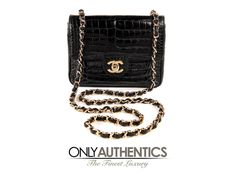 Chanel Vintage Black Crocodile Mini Classic Flap Bag
