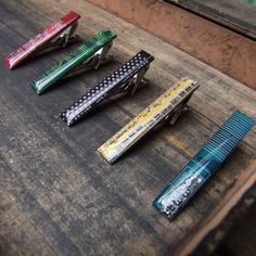 Handmade, upcycled computer circuit board tie clip.  £20  Handmade, from old computer parts, these make a unique and quirky gift. Ideal for any tech'ie, computer whizz or internet geek!    These are so detailed & each one different, these make an alternative to regular tie clips, which would look great on any fashion conscious guy, on any occasion. We have an assortment of colours including bright red which makes a real statement, green, blue and yellow. A unique individual gift.