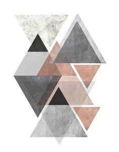 Tríptico arte de la pared estampados geométricos Set de 3