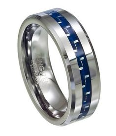 Tungsten And Blue Carbon Fiber Polished Finish Wedding Ring With Beveled Edge 8mm Jtg0054