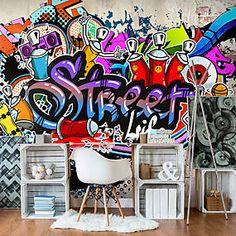 Murals Street Art, Street Art Graffiti, Xxl Poster, Street Game, Boys Room Design, Wall Murals, Wall Art, Banksy Graffiti, Boy Room