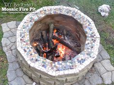 DIY Fireplace Ideas - DIY Backyard Mosaic Firepit - Do It Yourself Firepit Projects and Fireplaces for Your Yard, Patio, Porch and Home. Outdoor Fire Pit Tutorials for Backyard with Easy Step by Step Tutorials - Cool DIY Projects for Men and Women http://diyjoy.com/diy-fireplace-ideas