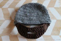 Pattern for a crochet beard beanie.