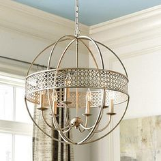 Lighting - The Marais 6-Light Orb Chandelier creates an airy and dramatic focal point in the entry or over a dining table.