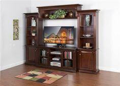 Vineyard Mahogany Wood Entertainment Center W/64 Inch TV Console