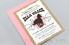 Cowgirl Handmade Birthday Party Invitation A2 NEW