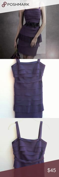 """NWT Vera Wang Chiffon Sleeveless Dress Brand new, never worn. Beautiful and chic. Color on tag says """"amethyst."""" Black flower belt in stock photo is separate and not included. Belt included as depicted in my photos is plain, buttons closed, and is detachable. Bust measures 15 1/2"""" across. Length along back zipper seam 26"""", and total length of dress from top of strap to bottom hem is 35"""". Waist 14"""" across. All measurements are approximate. DR 17. Make Offer. Vera Wang Dresses"""