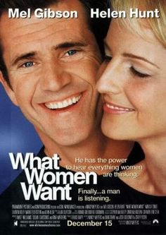What Women Want, 2000 American romantic comedy film, directed by Nancy Meyers and starring Mel Gibson and Helen Hunt Comedy Movies, Hindi Movies, Film Movie, Telugu Movies, Wanted Movie, Love Movie, Mel Gibson, Helen Hunt, Films Cinema