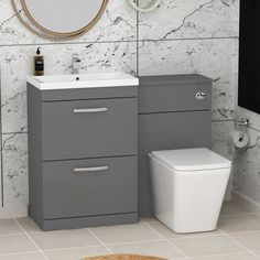 Turin 2-Drawer Indigo Grey Gloss Mid-Edge Floor Standing Bathroom Furniture Pack - Elena Toilet Basin Vanity Unit, Bathroom Vanity Units, Modern Bathroom, Small Bathroom, Door Furniture, Bathroom Furniture, Luxury Furniture, Quadrant Shower Enclosures