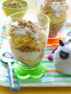 Apple Pie Parfait for Mother's Day -  Layer yogurt, apple slices (or other fruit) and granola - serve to mom in bed with hugs & flowers! Happy Mother's Day!