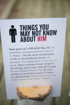 This is cute: Things you may not know about him or her(for reception tables)