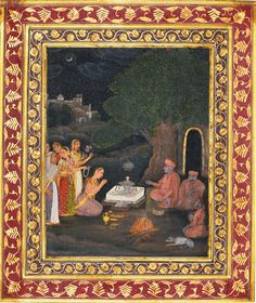 A Noblewoman Visits a Lingam Shrine at Night - Mughal Painting, Late 18th Century