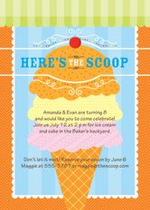 Ice Cream Social Birthday Party Invitations | Kim Byers, TheCelebrationShoppe.com