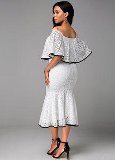 Boat Neck Ruffle Overlay White Lace Dress | Rosewe.com - USD $34.03 White Dresses For Women, Dresses For Sale, Prom Dresses, Summer Dresses, Black Dinner Dress, Lace Skirt, Lace Dress, Women's Fashion Dresses, White Lace