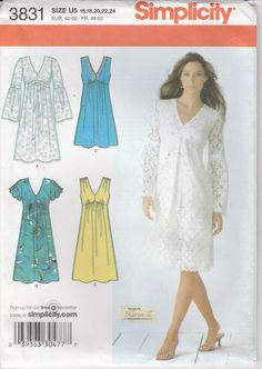 Simplicity 3831 Size 16, 18, 20, 22, 24 2006 11 pattern pieces  Uncut and factory folded  I am happy to ship internationally. Check the shipping tab and if your location is not listed then please send me a message and I will get a quote to you.  PrettyfulPatterns.etsy.com more patterns new and old PrettyfulTreasures.etsy.com vintage and handmade treasures for your home PrettyfulPhotos.etsy.com my original photographs   item #03439