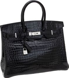 Hermes-Extraordinary-Collection-35cm-Diamond-Shiny-Black-Porosus-Crocodile-Birkin-Bag-with-18K-White-Gold-Hardware. Sold for USD 122,500 at Heritage Auction in Dallas
